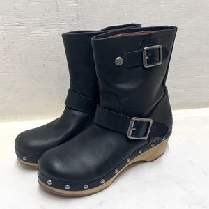 Lucky Brand Lexi Clog Leather Buckle Boots sz 7m